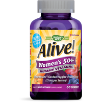 Alive! Women's Age 50+ Multivitamin Gummy 60 Count, Mixed Berry Flavor