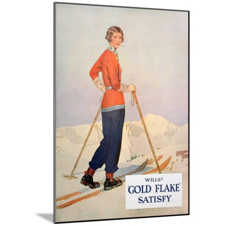 Advert for Wills' 'Gold Flake' Cigarettes, 1930 Wood Mounted Print Wall (Wall Mounted Cigarette)