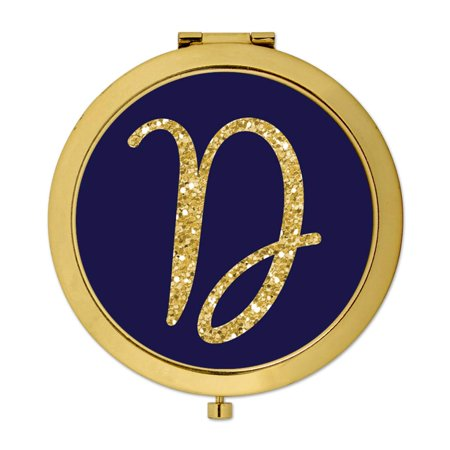 Andaz Press Gold Compact Mirror Bridesmaid's Wedding Gift, Navy Blue with Faux Gold Glitter, Monogram Letter D, 1-Pack - Gold Navy