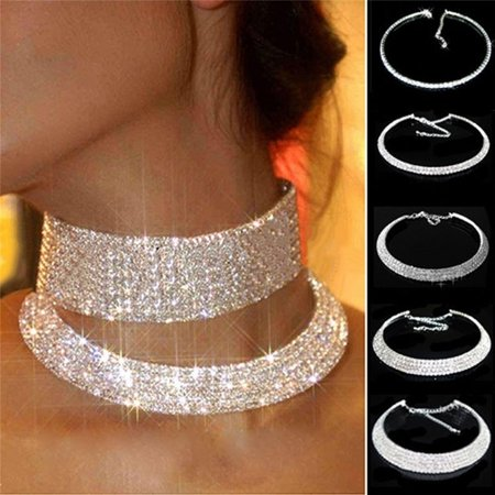 Women Crystal Rhinestone Collar Necklace Choker Necklaces Wedding Birthday (Crystal Flower Choker Necklace)