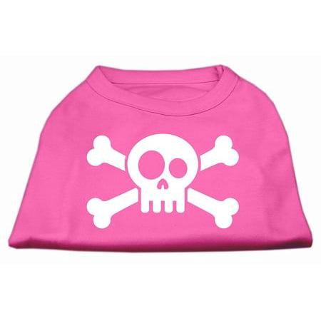 Skull Crossbone Screen Print Shirt Bright Pink Lg