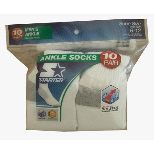 Starter Men's Ankle Socks, 10-Pack