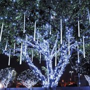 Meteor Shower Rain Lights, Outdoor Drop Icicle Snow Fall String LED Waterproof Christmas Lights with 50cm 240 LED 8 Tube LEDs for Holiday Party Wedding Christmas Tree Decoration(White)