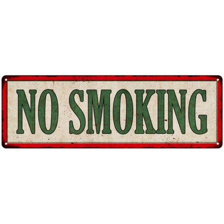 NO SMOKING Vintage Looking Metal Sign Shop Oil Gas 6x18 Garage - Sign Gas Oil