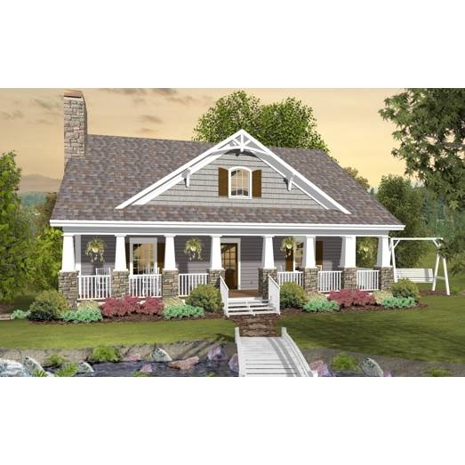 TheHouseDesigners-3061 Craftsman Bungalow House Plan with Basement Foundation (5 Printed Sets)