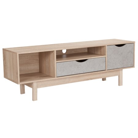 Flash Furniture St. Regis Collection TV Stand in Oak Wood Grain Finish with Gray (Best Finish To Bring Out Wood Grain)
