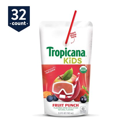 Pink Punch Recipe (Tropicana Kids Organic Juice Drink Pouch, Fruit Punch, 5.5 oz Pouches, 32)