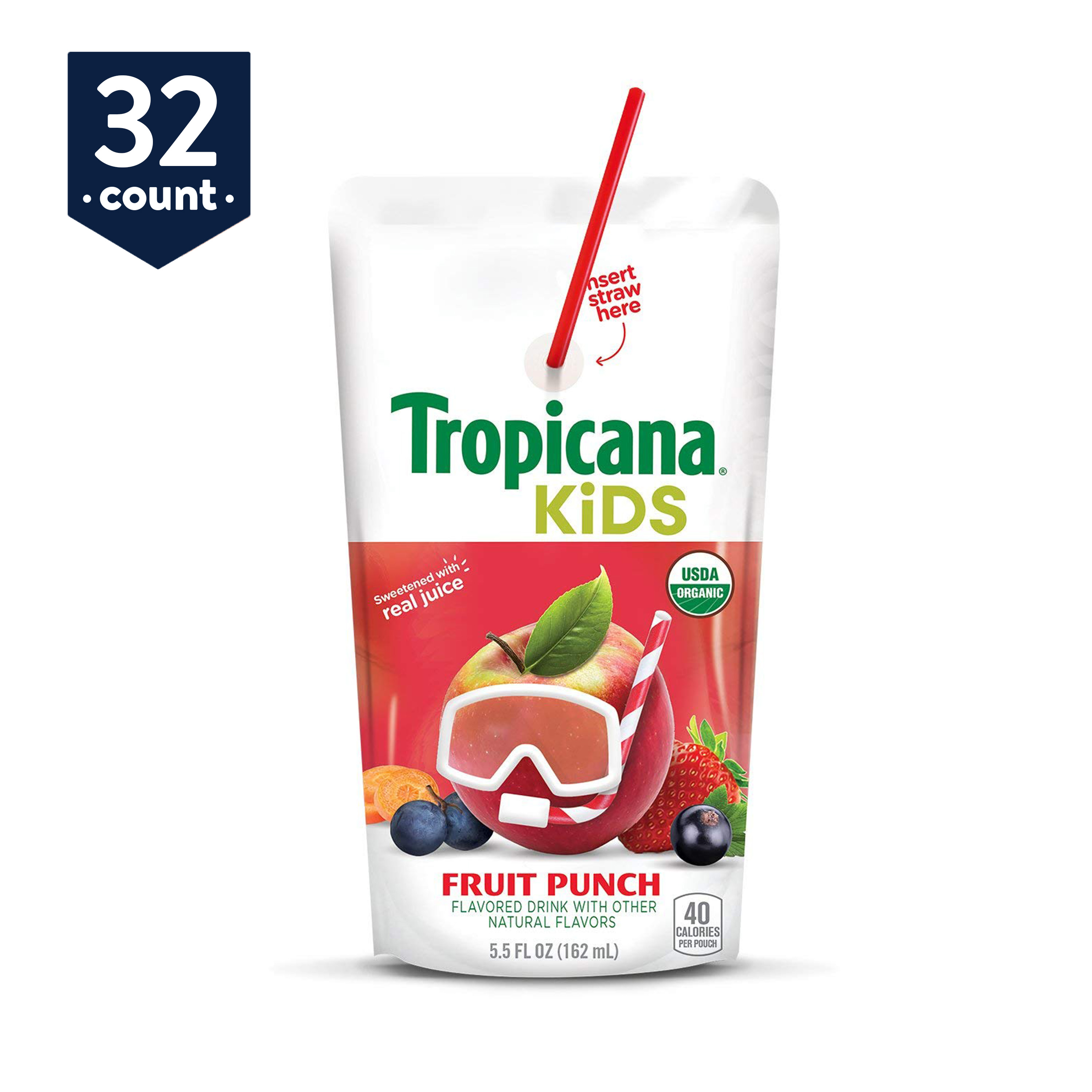 Tropicana Kids Organic Juice Drink Pouch, Fruit Punch, 5.5 oz Pouches, 32 Count