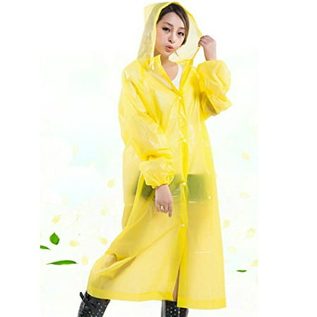 Unisex Drawstring Raincoat with Hoods for Hiking Outdoor