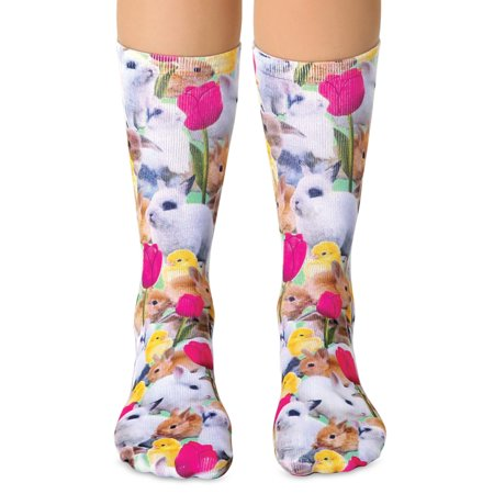 Cute Bunny Print Easter Socks with Tulips and Baby Chicks - Fun Seasonal Accessories  - Made in the USA (Bunny Socks)