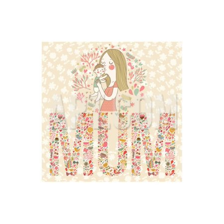 Cute Vector Card with Mother and Child. Word MUM Made of Flowers, Birds and Leafs. Mothers Day Post Print Wall Art By smilewithjul - Cute Mothers Day Crafts