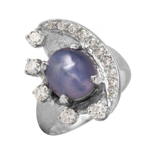 Foreli 4.96CTW Chalcedony Diamond 14K White Gold Ring W Cert by Generic