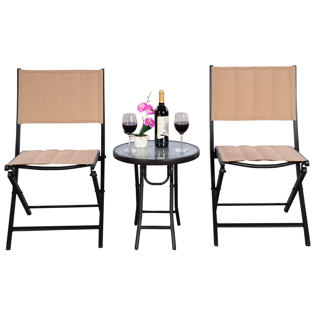 GHP Set of 3 Earthy Yellow Steel Textilenne & Aluminum Folding Round Table & 2 Chairs