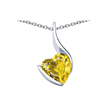 Star K Large 10mm Heart Shape Simulated Citrine Heart Pendant Necklace in Sterling Silver