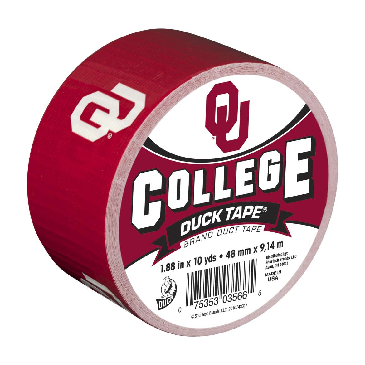 "Duck Brand College Logo Duck Tape, 1.88"" x 10 yard, Univ. of Oklahoma"