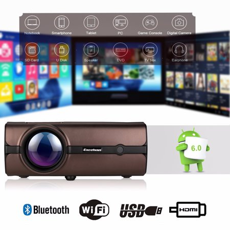 Excelvan Home Big Theater Projector BL46 Android 6.0 Multimedia LCD Projector 1080P 2019 Released Compatible With HDMI, VGA USB VGA AV, Home Cinema, TVs, Laptops, DVD, Gaming