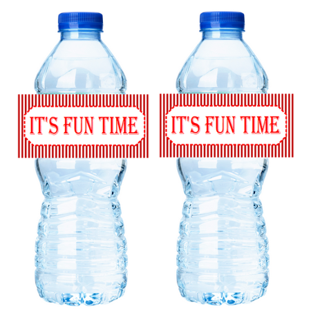 Fun Time Carnival Circus 15ct Water Bottle Party Decorations Stcker Labels - Circus Door Decorations