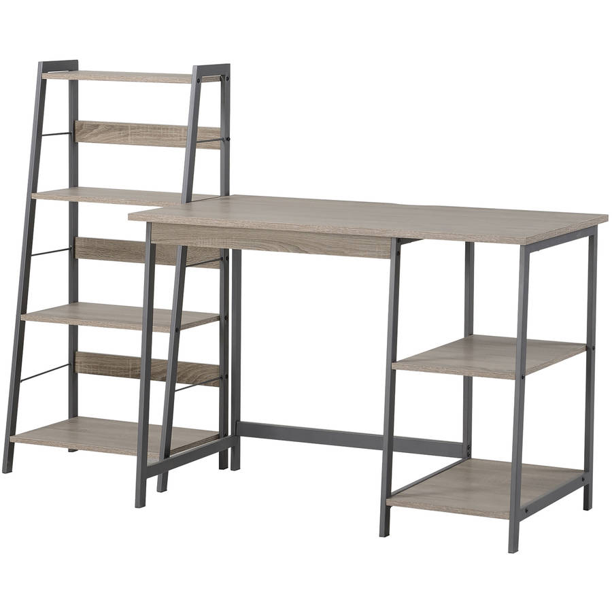 HOMESTAR 2-Piece Laptop Desk and 4-Shelf Bookcase Distressed Mocha