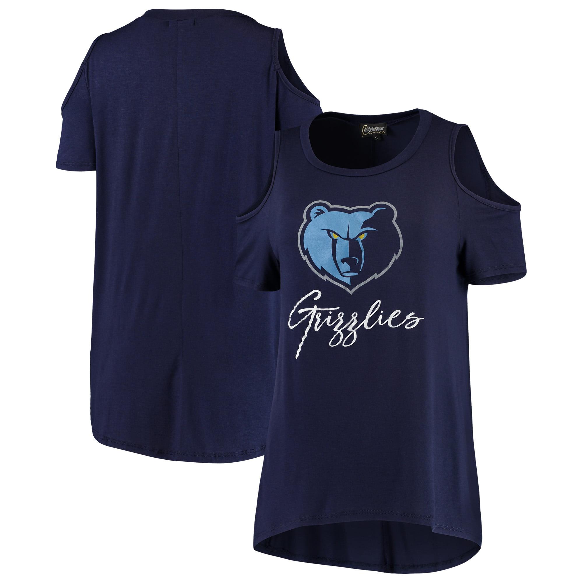 Memphis Grizzlies Women's Flowy Cold Shoulder T-Shirt - Navy