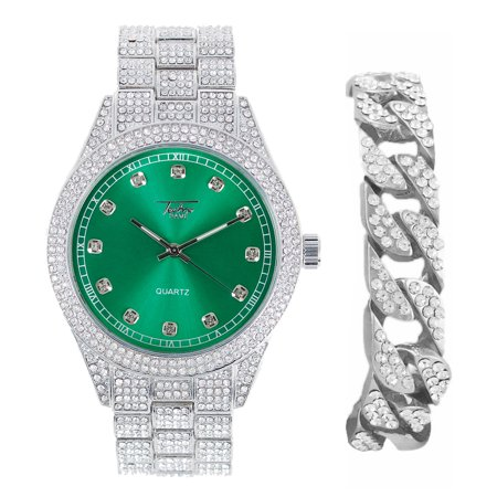 Men's Blinged Out Silver Analog Watch with Emerald Dial and Cuban Bracelet