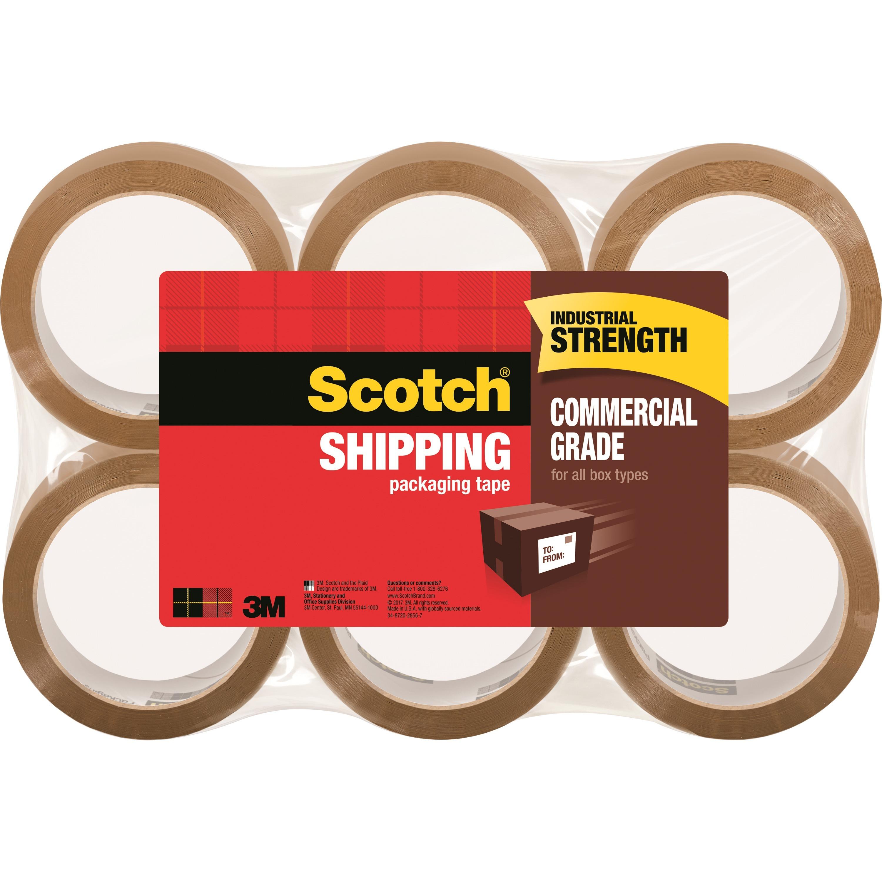 """Scotch Commercial Grade Shipping Packaging Tape, 1.88"""" x 54.60 yds"""