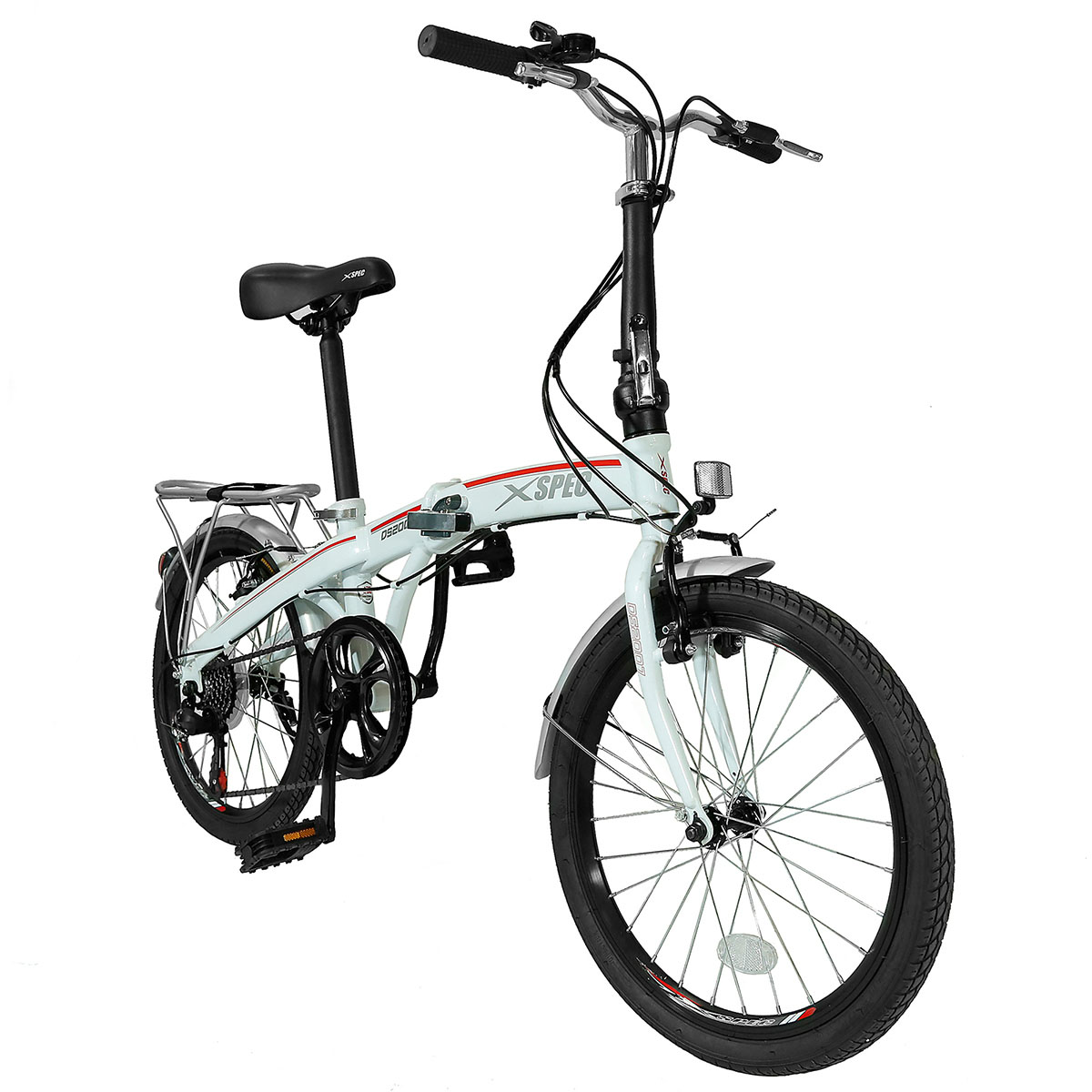 "Xspec 20"" 7 Speed City Folding Compact Bike Bicycle Urban Commuter Shimano, Black"