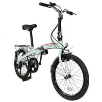 "Xspec 20"" 7 Speed City Folding Compact Bike Bicycle Urban Commuter Shimano, White"