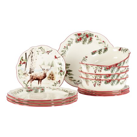Better Homes & Gardens 12-Piece Holiday Heritage Dinnerware Set (Better Homes Gardens Dinnerware)