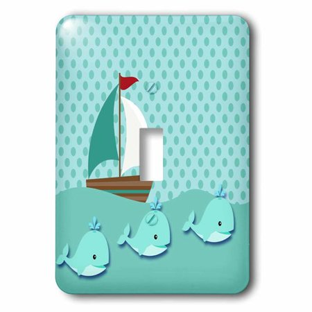 3dRose Sailboat and Whales in Teal Cute Baby Design, Single Toggle Switch