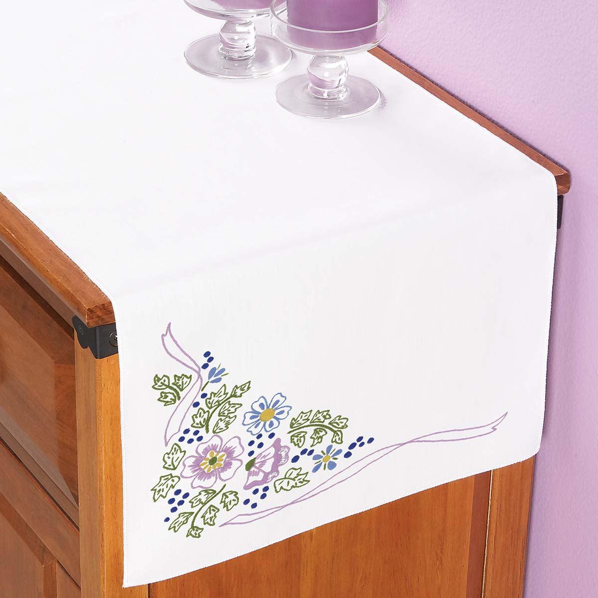 Herrschners® Twilight Garden Dresser Scarf Stamped Embroidery