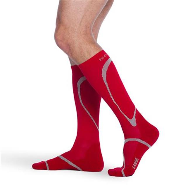 Sigvaris 412CXM59 20-30mmHg Knee High Compression Sock, Extra Large And Medium, Red