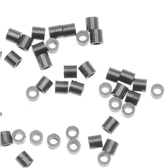 Black Finish Lead-Free Pewter 2x2mm Crimp Beads (50)