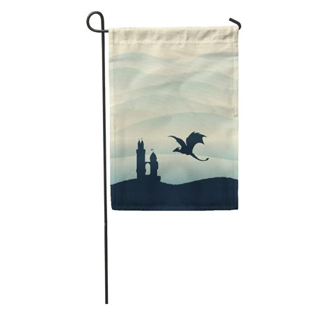 SIDONKU Blue Flying Castle Dragon Defence Hills Tale Fantasy Silhouette Tower Garden Flag Decorative Flag House Banner 12x18 (Best Tower Defence 2019)