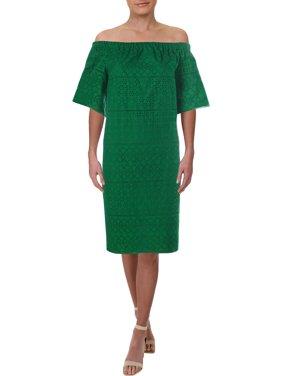 Lauren Ralph Lauren Womens Maylyn  Eyelet Off-The-Shoulders Casual Dress