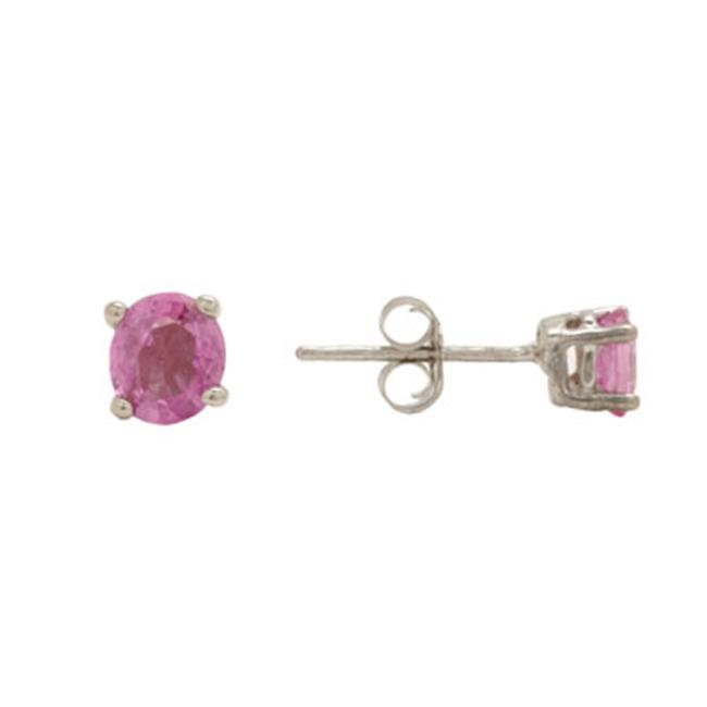 14K Gold Oval Pink Sapphire Stud Earrings