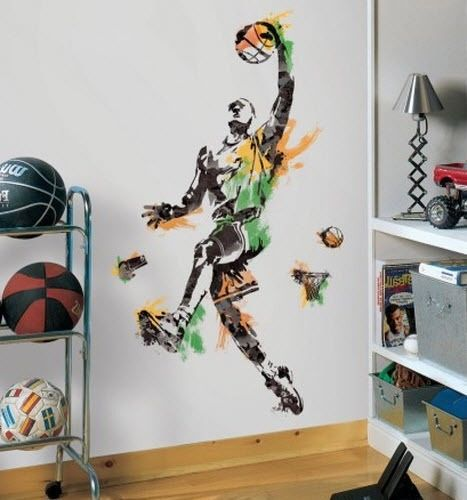 BASKETBALL PLAYER Mural Wall Decals Sports Ball Room Decor Stickers