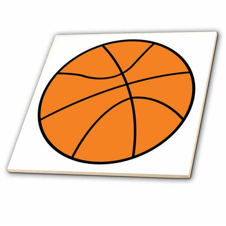 3dRose Simple Basketball Vector Sports Design - Ceramic Tile, -