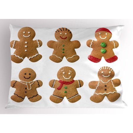 Gingerbread Man Pillow Sham Vivid Homemade Biscuits Sugary Xmas Treats Sweet Tasty Pastry, Decorative Standard Size Printed Pillowcase, 26 X 20 Inches, Pale Brown Red Green, by Ambesonne
