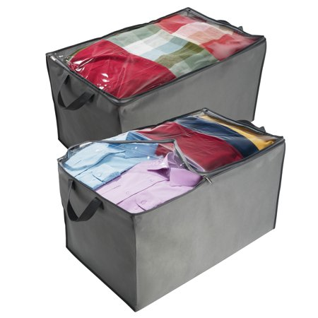 ShopoKus Jumbo Storage Bag, Breathable Bag, Clothes Storage Bag For Comforter, And Quilts, With Clear Viewing Top And Sturdy Zipper For Clothing, Linens, Shoes Etc. Set Of 2, Grey