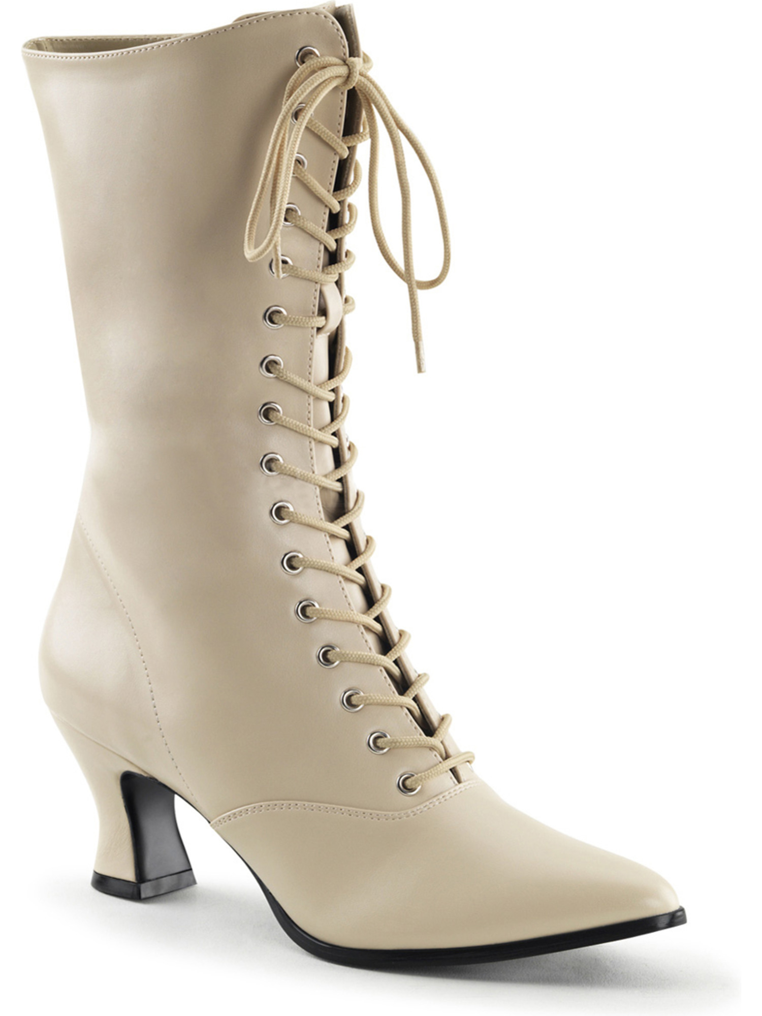 Womens Cream Victorian Boots with Lace Up Front and 2 Inch Kitten Heels