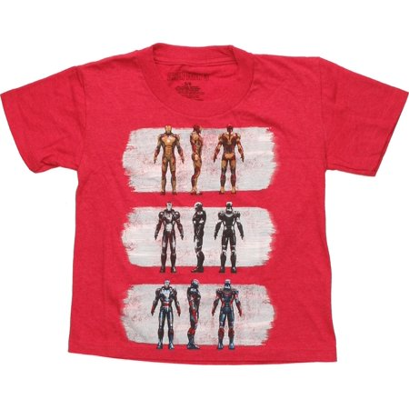 Iron Man 3 Suits of Armor Red Juvenile T-Shirt Cotton Non Iron Suit