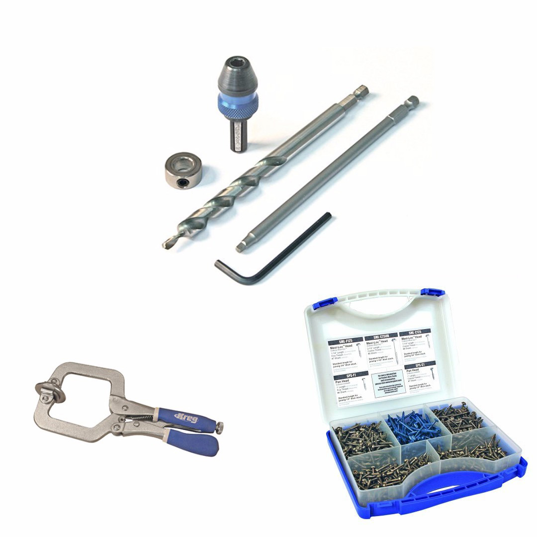 Kreg Quick-Change Pocket-Hole Kit w/ Pocket-Hole Screw in 5 Sizes and Face Clamp