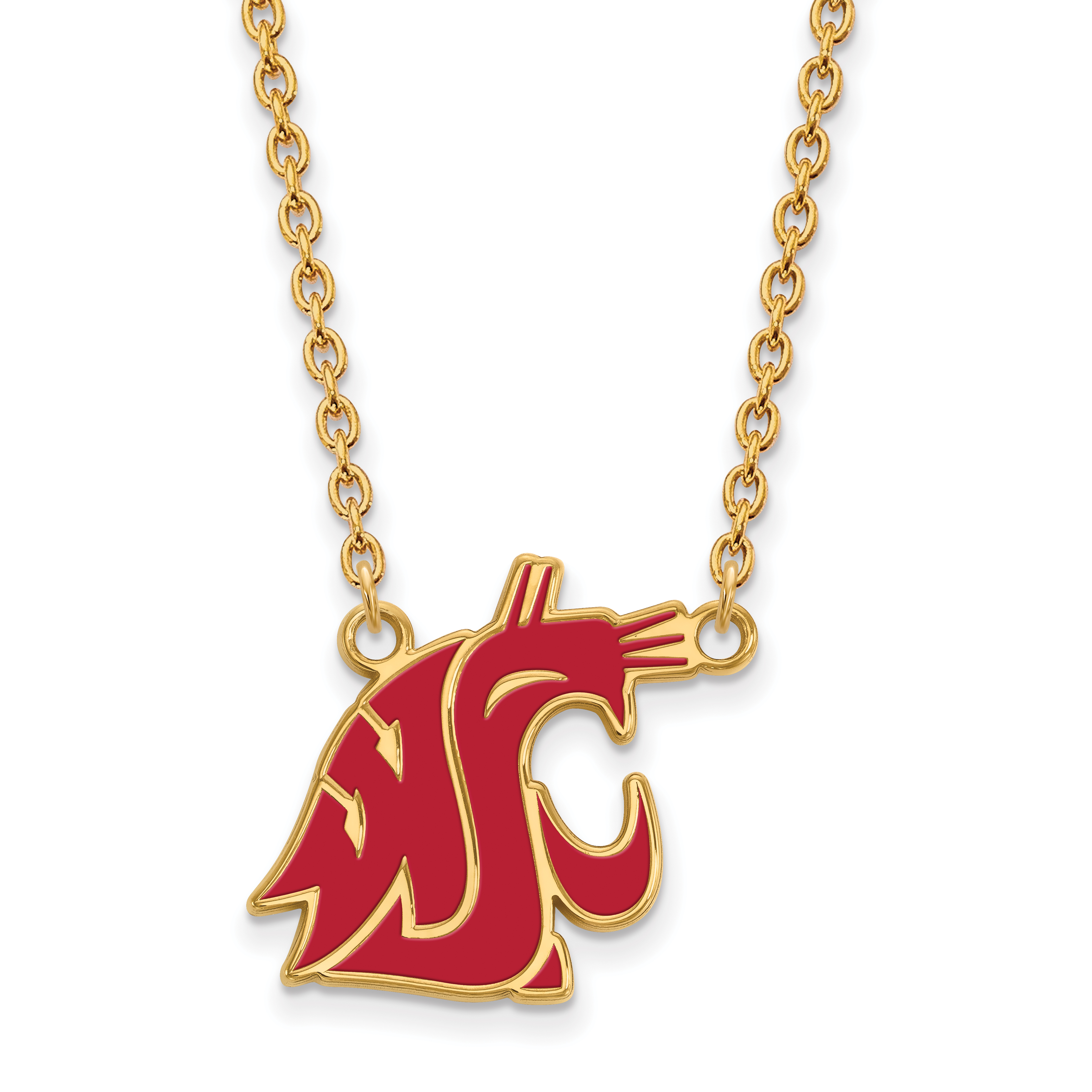Roy Rose Jewelry Sterling Silver with 14K Yellow Gold-plated LogoArt Washington State Large Enameled Pendant Necklace