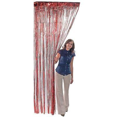 Mylar Curtain Drapes (Fringed Mylar Curtain 3'wx8'l Red For)