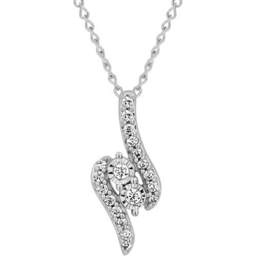 1/10 Carat T.W. Diamond 2 Stone Sterling Silver Pendant