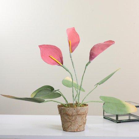"""19"""" rose et vert artificiel décoratif Calla Lily plante - image 1 de 2"""