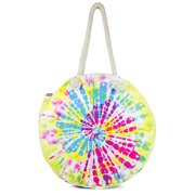 Magid Women's Multi Color Cotton Tie Dye Circle Tote Beach Bag with Double Rope Handle