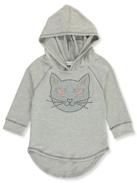 Beautees Girls' Studded Kitty Hooded Top