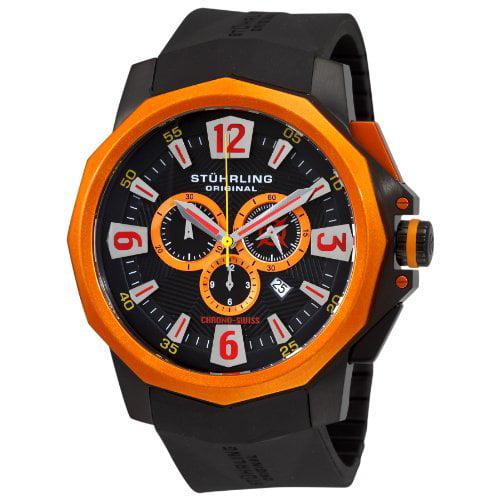 Stuhrling Original Men's 300.332R657 Admiral Swiss Quartz Chronograph Orange Bezel Watch