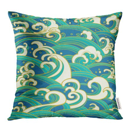ARHOME Blue Abstract Traditional Oriental Ocean Waves Foam Splashes Green Asia China Pillowcase Cushion Cover 16x16 inch